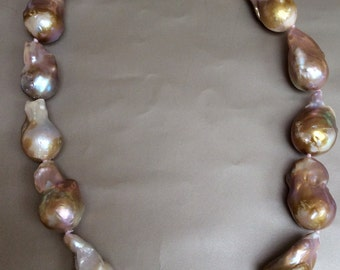 18 inch 14.0-17.0 mm Metallic multicolor fireball freshwater pearl necklace
