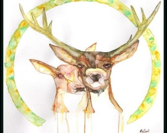 deer Original painting,deer watercolor painting,Original watercolor painting,deer couple,Original art,deer Original wall art,deer watercolor