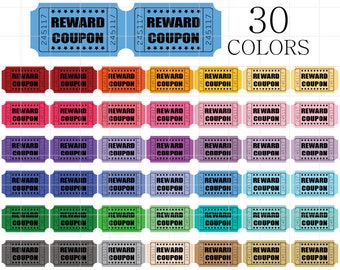 Reward Coupon Clipart, Ticket Clip Art, Coupon Clipart, Carnival Tickets, Movie Tickets, Reward Coupons, Vintage Tickets Clipart