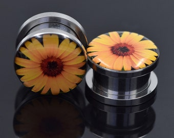 A Pair of 6 Gauge Stainless Steel Screw Plugs - Sunflower
