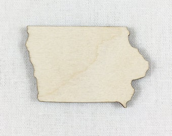 Iowa State Wood Cut Shape Shape, Unfinished Wood Iowa Laser Cut Shape, DIY Craft Supply, Many Size Options