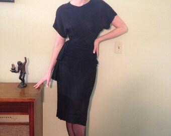 Vintage 1940s Black Crepe Dress