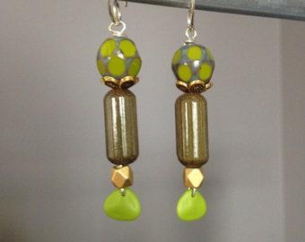 Long green earrings