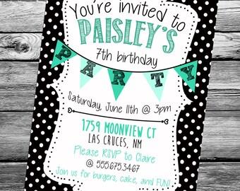 Birthday Party Invitation - Black & White Polka Dot with Teal