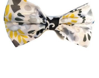 Yellow and Gray Abstract Floral Fabric Hair Bow