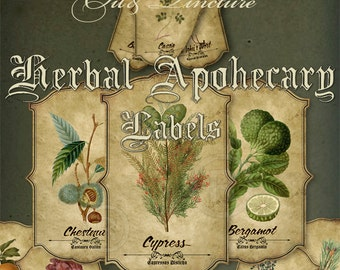 Essential Oil Labels,Apothecary Herbal Illustration,Printable Digital Graphics,Hobby Crafting,Instant Download. (Pack 2.)