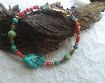 Bright, colorful turquoise and glass bracelet