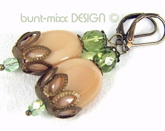 Earrings caramel green bronze vintage style pottery colorful mixx-DESIGN