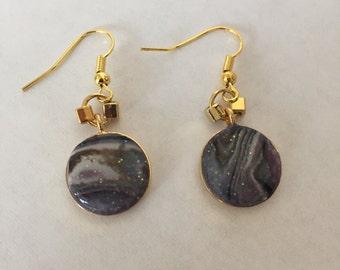 faux abalone dangle earrings