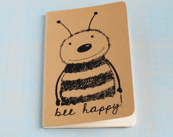 Honey Bee Hand Printed Moleskine Cahier Pocket Notebook, Journal, lined pages