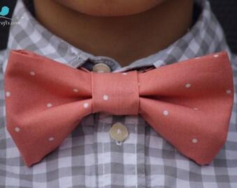 coral bowtie, bow tie, bowtie men, boy bowtie, adult bowtie, back to school bowtie, pastel bowtie, polka dot bowtie, adjustable bowtie, pink