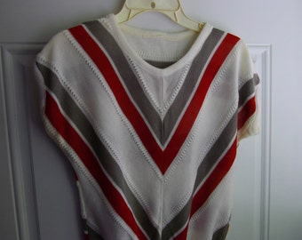 Striped Sleeveless Knit Top, No Label, Size Medium