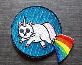 Horn Cat Rainbow Weird Iron On Patch