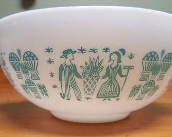 Vintage Pyrex Amish Butterprint Turquoise Cinderella Mixing Bowls 2