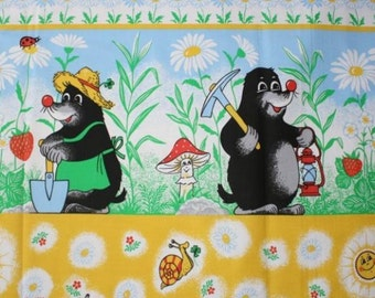 Little Mole and his friends in the garden fabric