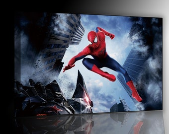 Spiderman cm 50 x 70 print on canvas already framed and ready to hang