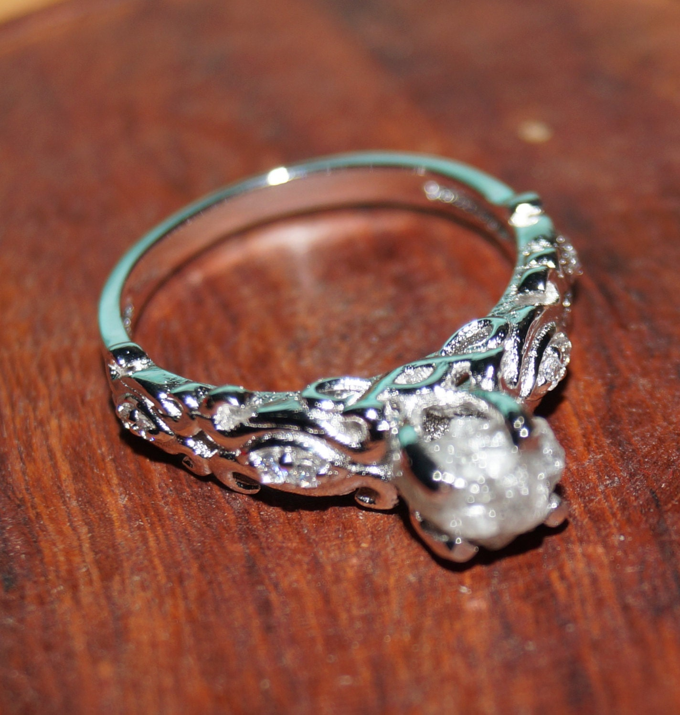 Rough Diamond Rings: Gray Raw Diamond Ring Gray White Diamond Ring Uncut Diamond