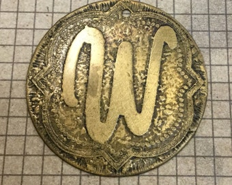 Etched Brass Pendant/Charm Initial W