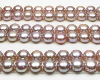 AA+ 8-9mm button pearl, half drilled lavender loose pearl beads, natural luster pearl, freshwater cultured pearl bead supply, FLB8090-L