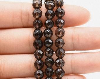 Smoky quartz beads, 6mm round faceted, genuine smoky quartz stone, semi precious beads, loose brown faceted quartz beads strands, SQZ1020