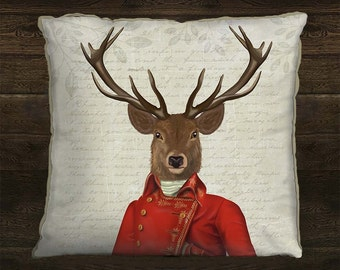 Stag pillow cover Deer cushion cover Deer Decor Deer pillow cover - Deer Red and Gold Pillow Stag Cushion cover Man cave décor living room