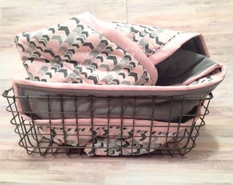 Pink and Gray Chevron Crib Quilt - Tummy Time Quilt