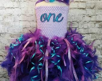 First birthday tutu dress,custom first birthday tutu dress,feather tutu dress,purple feather dress,birthday tutu dress,girls birthday tutu