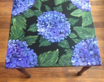 Hand Painted Hydrangea Side Table