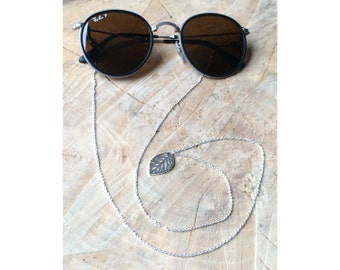 Stainless Steel Leaf Sunglass Strap | Eyeglass Cord | Rose Gold Silver Eyeglass chain | Sunglasses Lanyard | Leaf Pendant Sunnies Straps