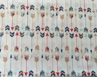 Gold and Colourful Arrow Print Organic Cotton Fabric