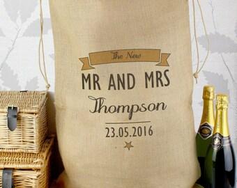 Personalised Classic Parcel Sack (wedding gift sack, wedding card sack, rustic wedding, christmas hessian sack)
