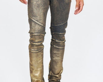 Men's Gold Coated Moto Style Jeans