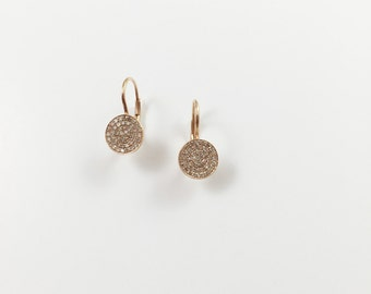 14K Pink Gold Lever Back Earring