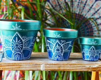 Succulent Planter, Flower Pot, Blue Ombre Bohemian Pots, cactus planters, hippie pots, lotus design, Jewel toned, Henna