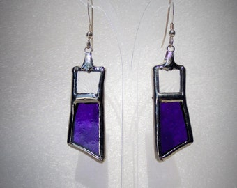 Purple stained glass earrings