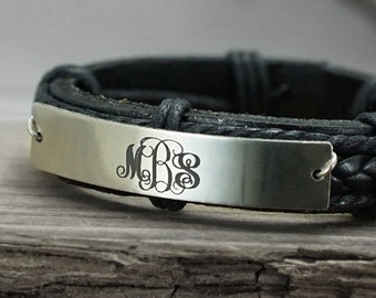 Custom Leather Monogram Bracelet, 3 Initial monogrammed Gift, Engraved Bracelet, Leather Braided Bracelet, Fathers Day Gift, Bridesmaid Gift
