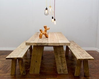 Rammligr Handmade Reclaimed Wood Table. Cafe Bar Restaurant. Custom Made to Order.