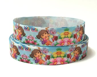 "1"" dora ribbon, Dora the explorer ribbon, Grosgrain ribbon, dora ribbon, Printes ribbon, cartoon character ribbon"