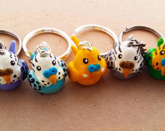 Budgie Keychains Cute and Handmade from Polymer Clay