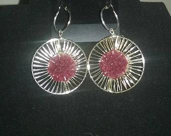 Big circle burgundy flower earrings
