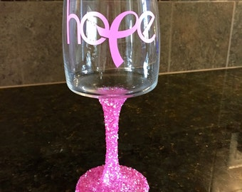 Hope Breast Cancer Wine Glass
