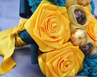 Yellow & Turquoise Satin Wedding Bouquet, Chocolate Bouquet, Bridal Bouquet, Bridesmaids Bouquet, Toss Bouquet, Sweet Bouquet, Blue Wedding