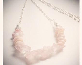 Rose Quartz & Pink Opal Chain Necklace