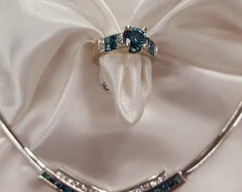 Vintage blue and white diamond necklace