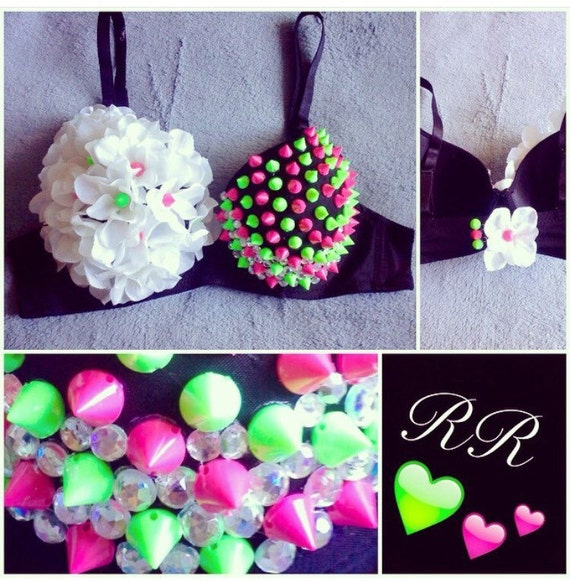 Pink and Green Spiked Rave Bra!