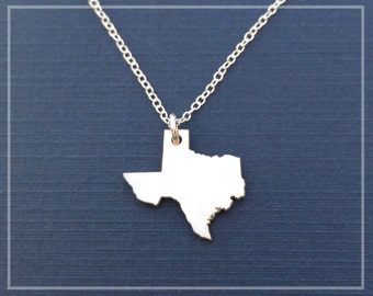 Texas Necklace, Texas State Necklace, I love Texas, I Heart Texas Necklace Sterling Silver