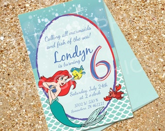 Little Mermaid Ariel Birthday Invitation