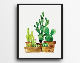 Cactus Watercolor Print | Succulent Print | Cactus Print | Potted Plant Print | Digital Download