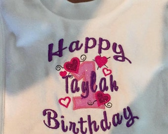 Personalised 1st birthday pull over baby bib