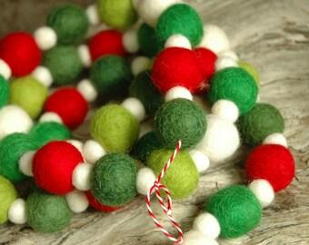 Hip Evergreen 20ft Felt Ball Garland - Christmas Garland - FREE SHIPPING USA